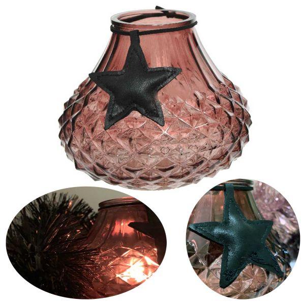 Glas Windlicht Rosa Braun Stern 11cm Ornament Teelicht-Halter Deko