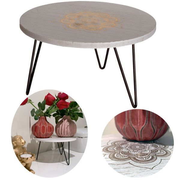 Holz Mini Beistell-Tisch 21x12cm Deko-Tablett Blumenständer Pflanzenhocker