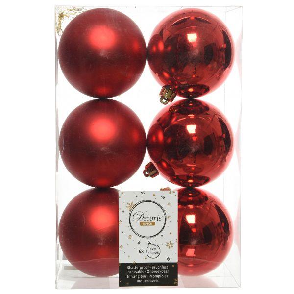 6 Design Weihnachtskugeln 8cm Rot Kunststoff Dekokugel Baumkugel