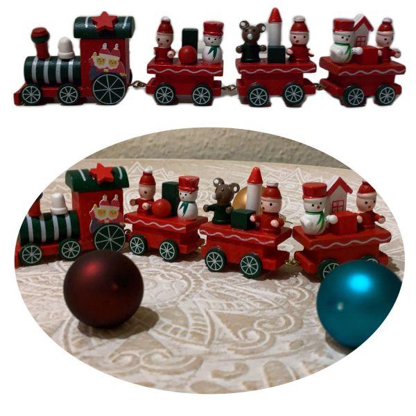 Holz Weihnachtszug Rot Grün Deko-Zug Eisenbahn Tisch Dekoration X-mas