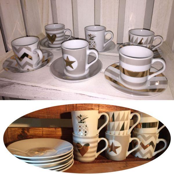 12 tlg. Espressotassen Porzellan Kaffeetassen Set Geschirr Kaffeeservice