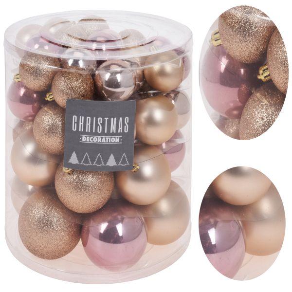44 Kunststoff Weihnachtskugeln Rosa Perle Gold 5-8cm Baumkugel Dekokugel