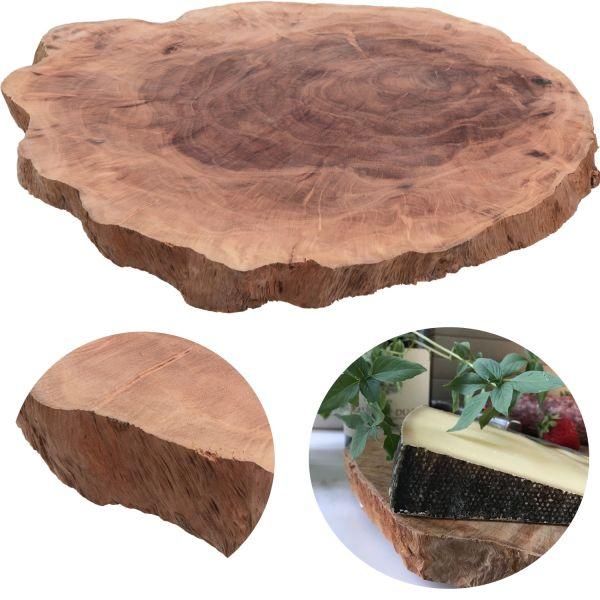 XL Mango Vesperbrett Echt-Holz Baumscheibe Ø 28-34cm Schneidebrett