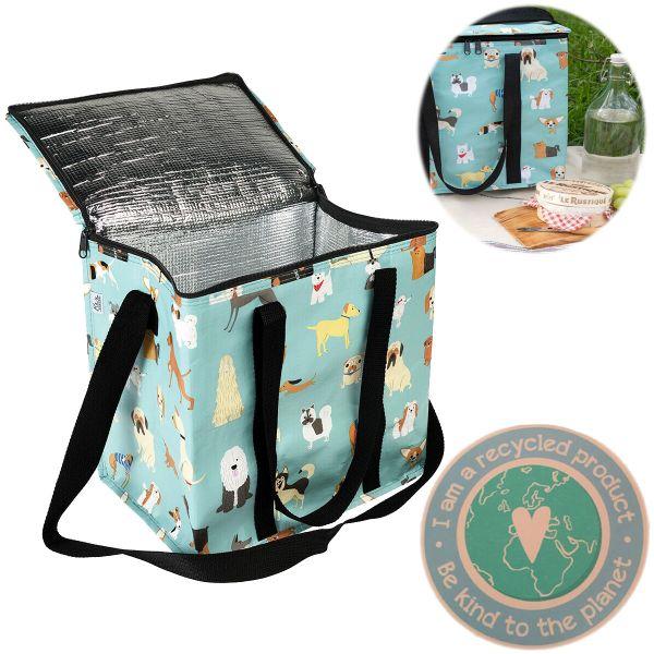 Vintage Kühltasche Recycled Hunde Öko Thermotasche Lunchbag Kühlbox