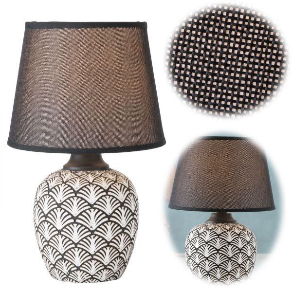 Tischlampe Keramik Oslo Schwarz Creme 32cm Tischleuchte Nachttischlampe