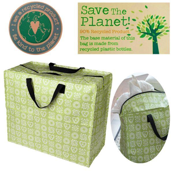 XXL Jumbo Bag Herzen Grün 55cm Allzweck-Tasche Recycled Einkaufstasche