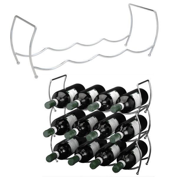 3-fach Metall Weinregal 12 Flaschen Flaschenständer Wein-Flaschenregal