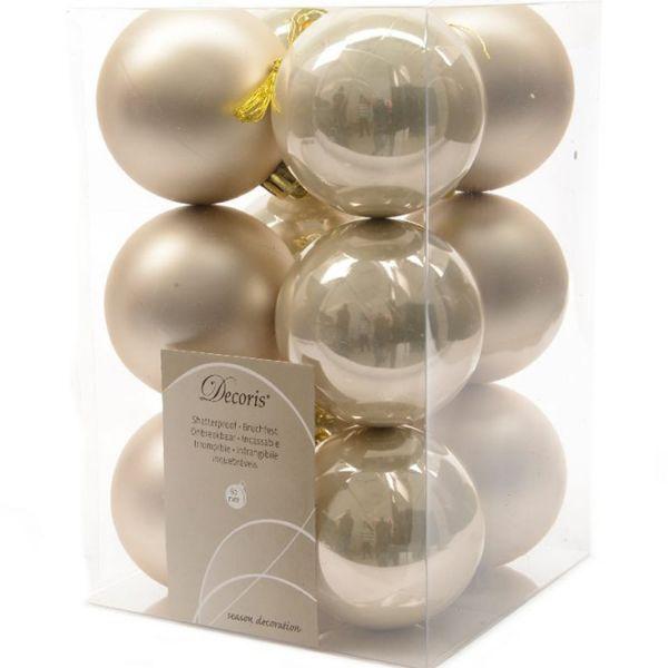 12 Design Weihnachtskugeln 6cm Perle Kunststoff Dekokugel Baumkugel