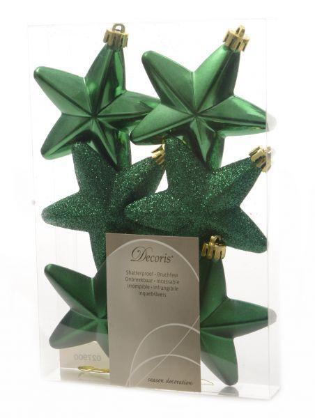6x XL Weihnachts-Stern Ilex Grün 7,5cm Fenster-Hänger Hänge-Deko
