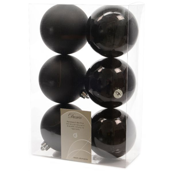 6 Design Weihnachtskugeln 8cm Schwarz Kunststoff Dekokugel Baumkugel