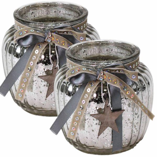 2x Glas Windlicht Silber Grau Stern Set 11cm Teelichthalter Teelichtglas