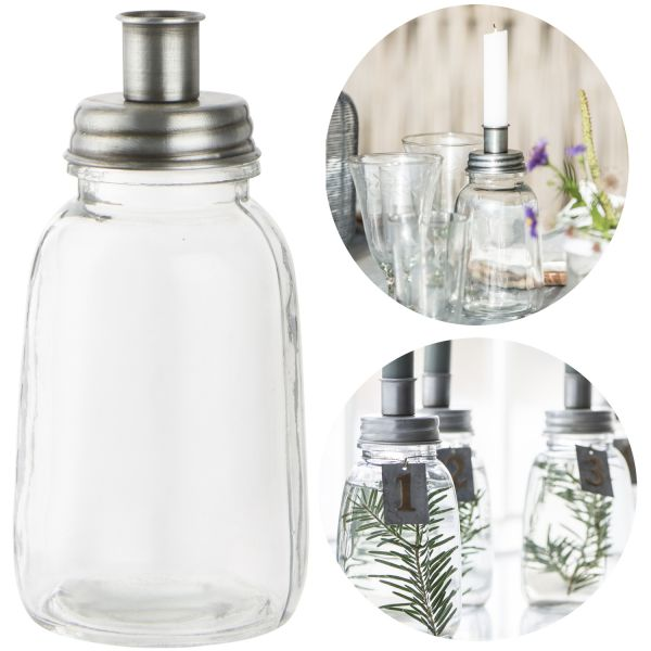 Glas Kerzenständer Stab-Kerzenhalter 17,5x8,5cm Kerzenleuchter Deko-Vase