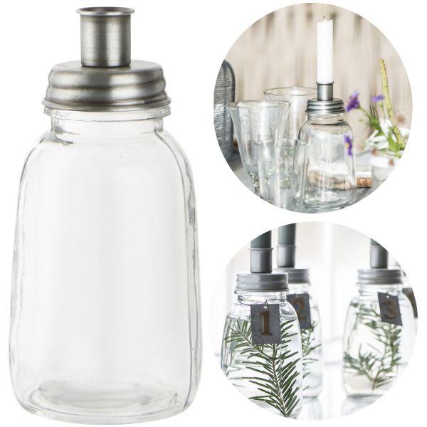 Glas Kerzenständer 17cm Silber Stab-Kerzenhalter Kerzenleuchter Deko-Vase