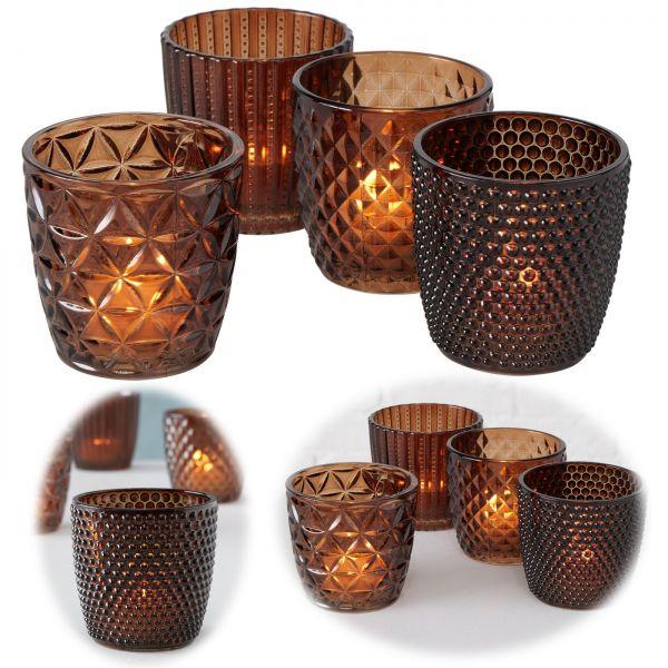 4 Glas Teelichthalter Set Retro Braun 7cm Teelichtglas Windlicht-Halter