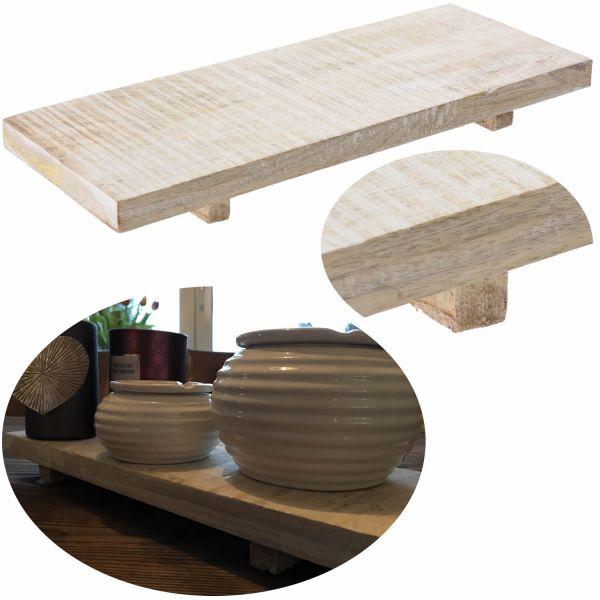 Holz Deko-Tablett 40cm Weiß Kerzenteller Kerzentablett Serviertablett