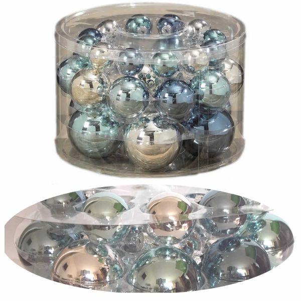30 Design Glas Weihnachtskugeln 4-8cm Ice Blau Türkis Silber glänzend