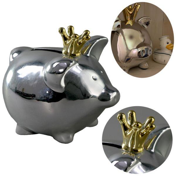 Spar-Schwein Keramik Silber Krone Gold 18cm Deko Spardose Sparbüchse