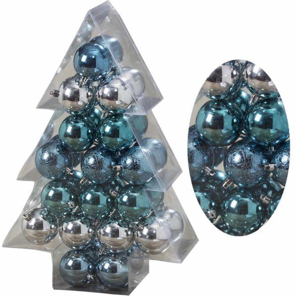 34 Weihnachtskugeln 6cm Blau Türkis Silber Kunststoff Christbaumkugel