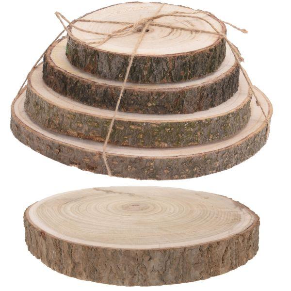4x Rindenbrett Baumscheibe Rund Holz Ø 14-18cm Astscheibe Rindenscheibe