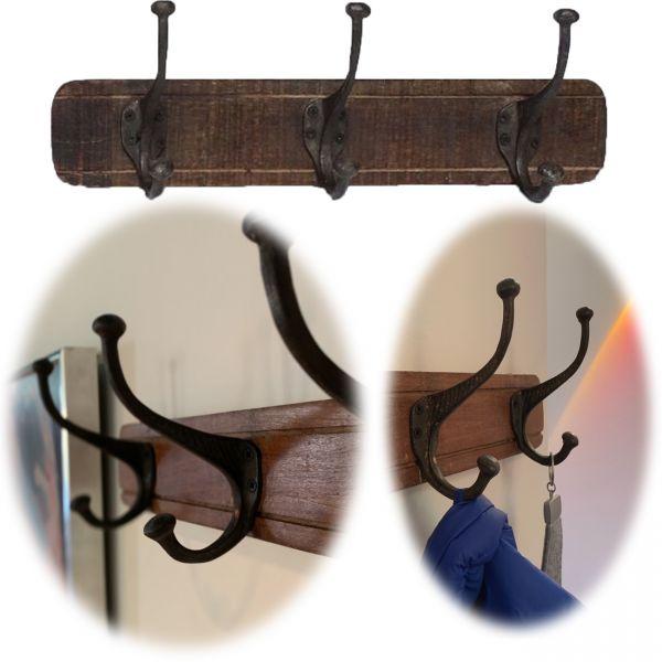 Vintage Wand-Garderobe 45cm Teak Holz 3/6 Haken Braun Garderoben-Leiste