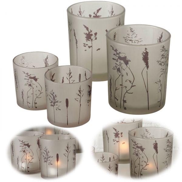 4x Glas Teelichthalter Gräser 8-12cm Set Windlicht-Halter Kerzenständer