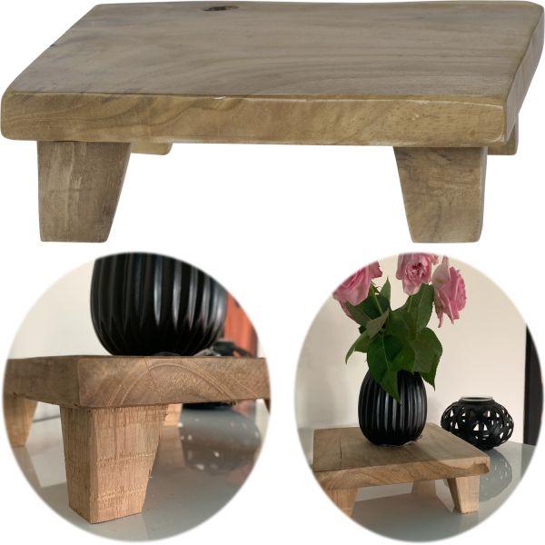 Mini-Tisch Teak-Holz 20x7cm Deko-Tablett Pflanzenhocker Blumenständer