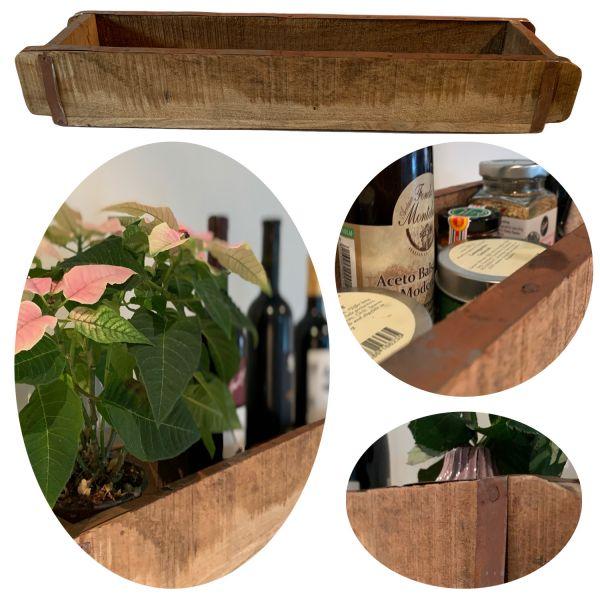 XL Holz Ziegelform 65x14x10cm 1-fach Aufbewahrung-Box Cutlery Deko-Kiste