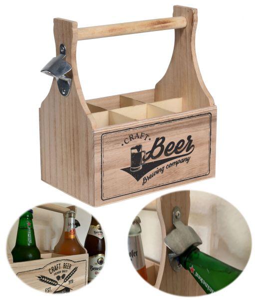 Holz Flaschenträger Braun 6-Fach Flaschenkorb Bierträger mit Öffner