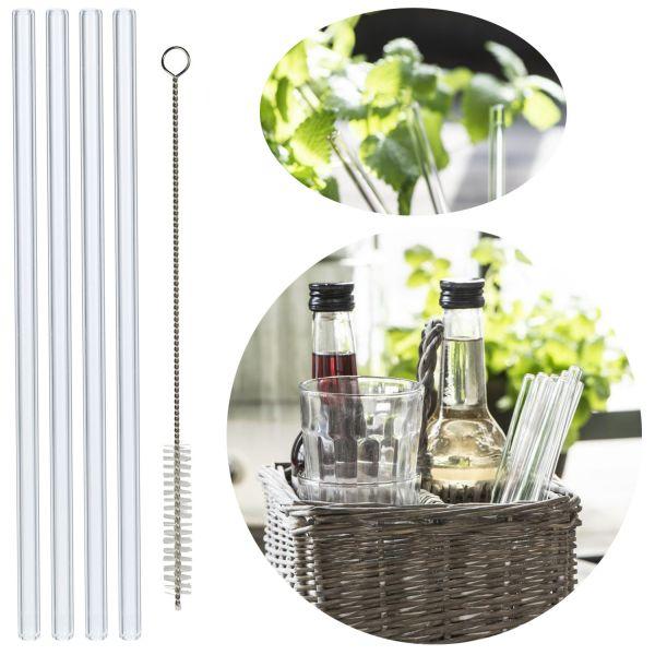 4x Premium Glas Trinkhalme Gerade 20cm Borosilikat Bürste Strohhalm