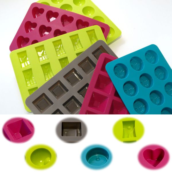 6x Silikon Schokoladenform Pralinenform Backform Set Eiswürfel