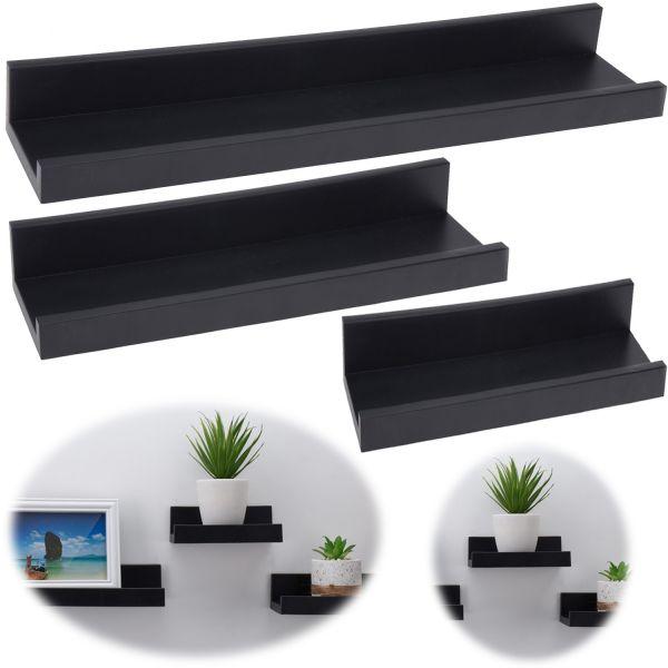 Wandregal Set 3-fach Schwarz 3 Regale Küchen-Regal Bücher Wand-Board