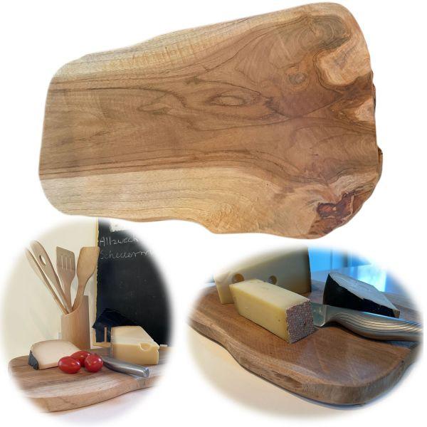 XL Teak-Holz Vesperbrett 34cm Echt-Holz Baumscheibe Schneidebrett