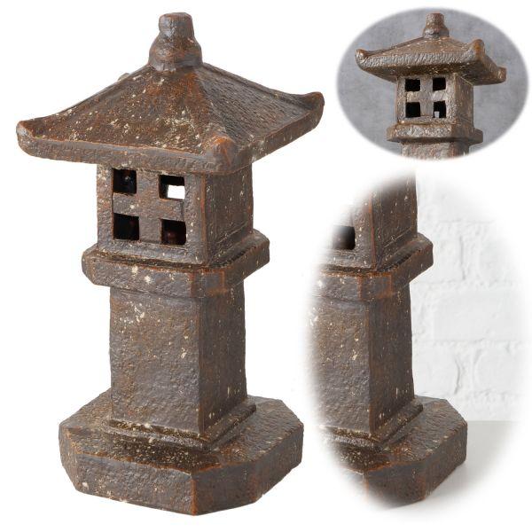 Deko-Objekt Asien Tempel 33cm Braun Terrakotta Pagode Statue Feng Shui