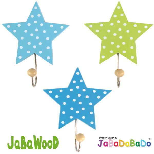JaBaDaBaDo 3 Holz Kinder Wandhaken Kleiderhaken Sterne Blau R16014 ...