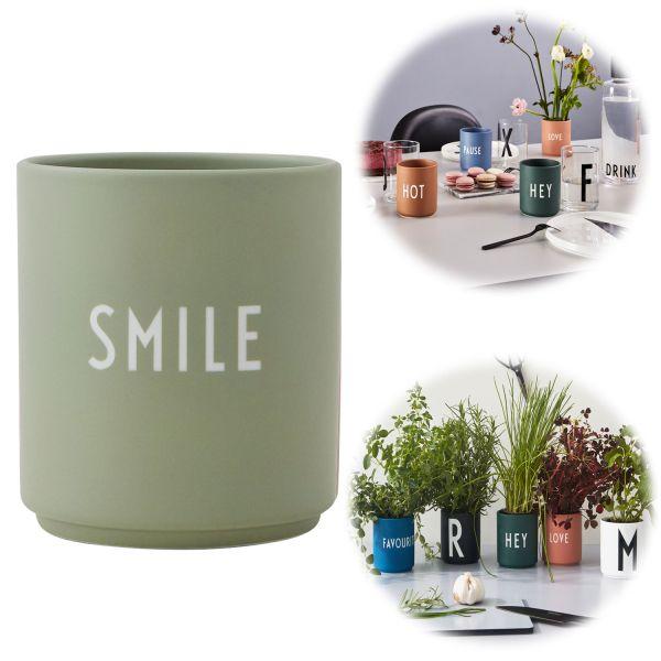 AJ Porzellan Kaffeebecher Smile Grün Design Letters Kaffeetasse Deko Becher