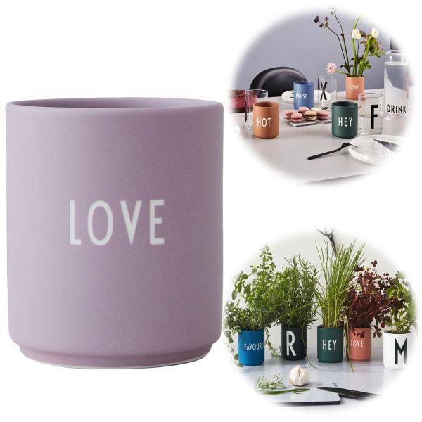 AJ Porzellan Kaffeebecher Love Lavendel Design Letters Kaffeetasse Deko Becher