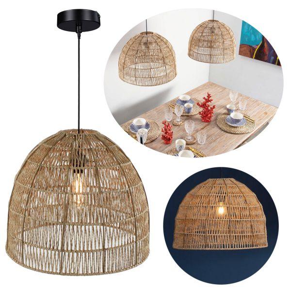 Hänge-Lampe Pendel-Leuchte Jaipur Ø50cm Natur Rattan Look Deckenleuchte