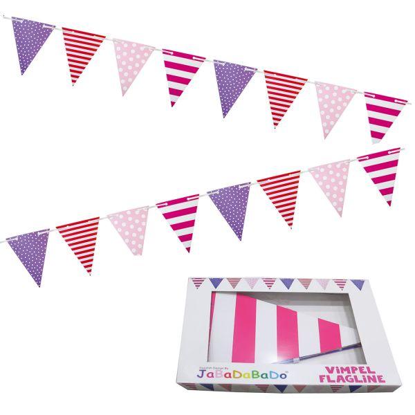 JaBaDaBaDo XL Wimpelkette rosa rot Party Girlande Geburtstag 4,5 Meter