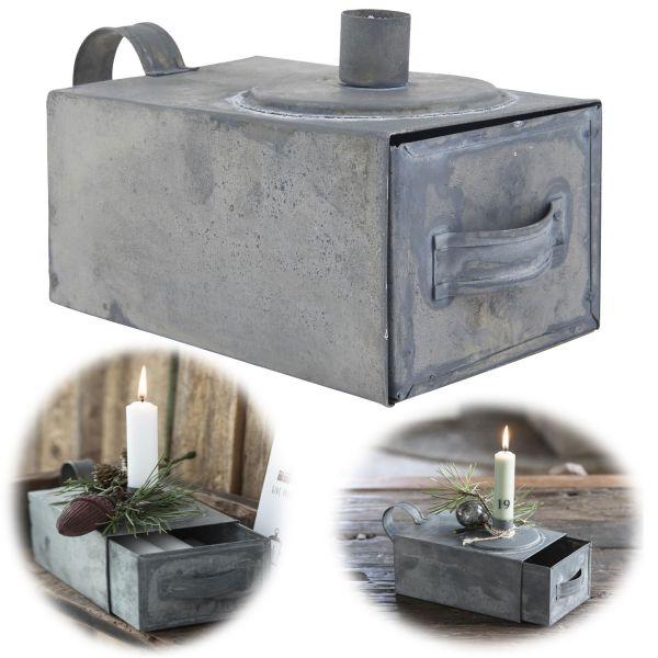 Metall Stabkerzen-Halter Grau Henkel 20cm Kerzenständer Kammer-Leuchter