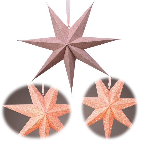 3D Samt Leuchtstern Ø 60cm FSC Rosa Beleuchtet Weihnachtsstern Papierstern