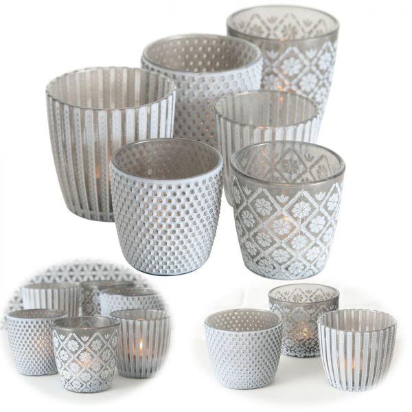 6x Glas Teelichthalter Retro Grau 7-9cm Set Windlicht-Halter Kerzenständer