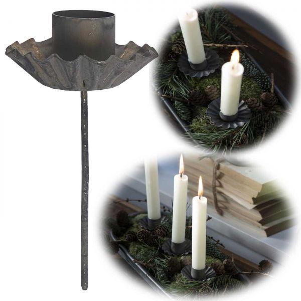Metall Stabkerzen-Halter Grau 10cm Spieß Kerzenständer Kerzen-Stecker