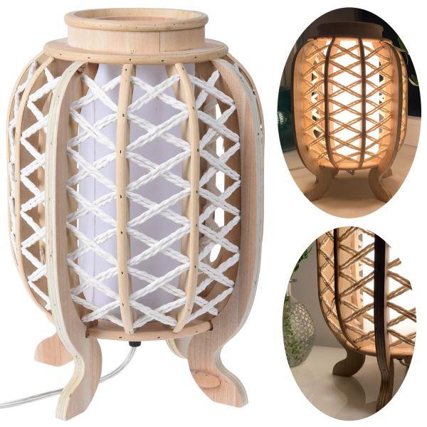 Tischlampe Holz Tau Kampen 33xm Braun Tischleuchte Nachttischlampe