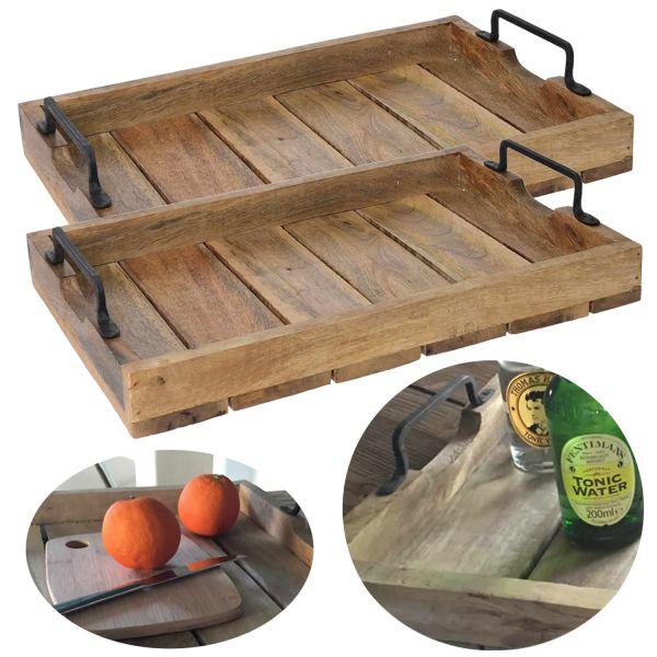 2x Mango Serviertablett 38x25cm Set Holz-Tablett Deko Griff-Tablett