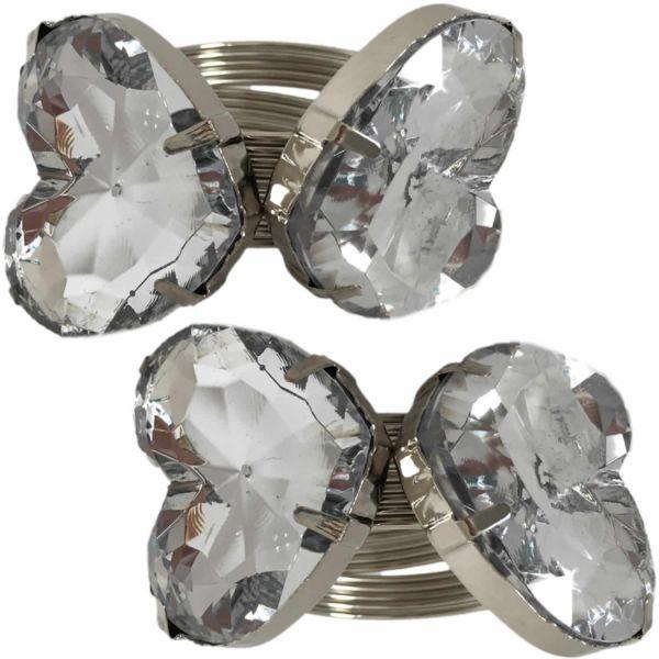 4x Serviettenringe Kristall Herz Servietten Ringe Tischkarten Silber