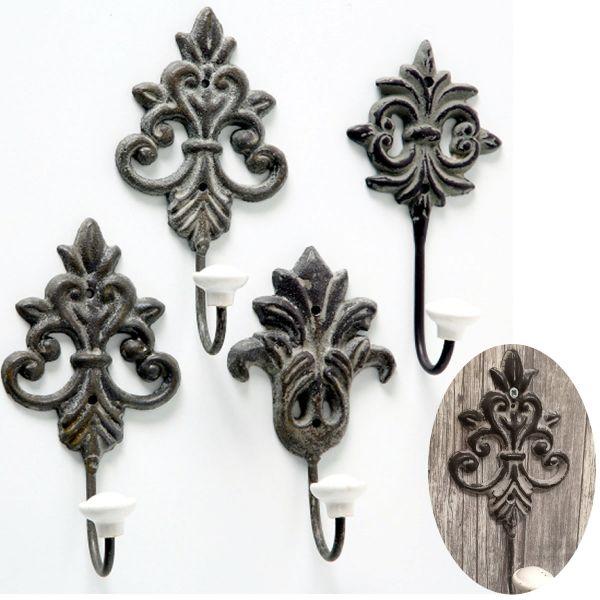2 Garderobenhaken Metall Braun Set Wandhaken Wand-Garderobe Vintage Antik