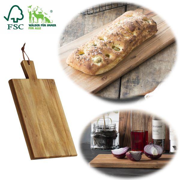 Frühstücksbrett Schneidebrett 29cm FSC Akazien-Holz Tranchierbrett Griff-Brett