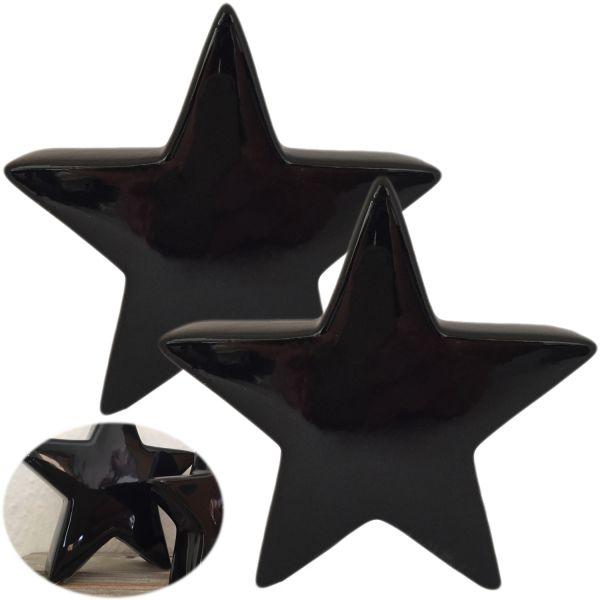 2x Deko Weihnachts-Stern 14cm Keramik Schwarz Glänzend Tisch-Dekoration Weihnachten