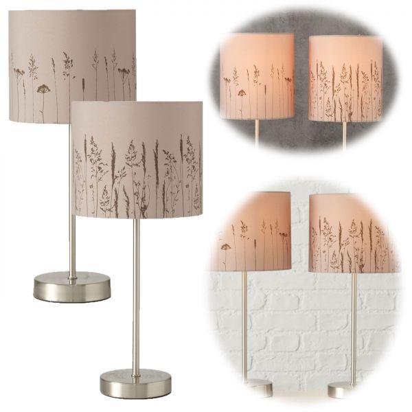 Tischlampe Gräser Taupe Silber 40cm Tischleuchte Nachttischlampe