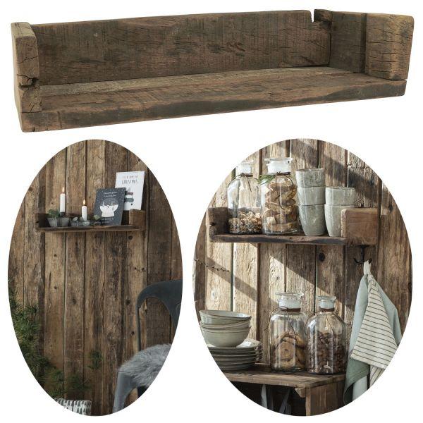 Holz Ziegelform Wandregal 45x15cm Braun Küchen-Regal Bücher Wand-Board